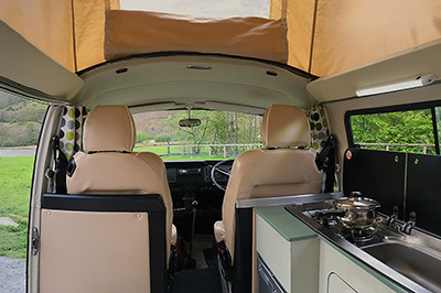 Interior of Bessie our 1973 VW classic retro Bay window Type 2 (T2) camper van for hire