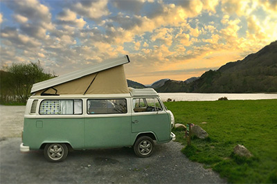 Bessie our 1973 VW classic retro Bay window Type 2 (T2) camper van for hire at Llyn Gwynant