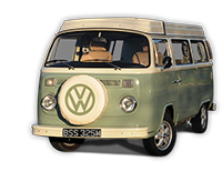 Bessie our 1973 VW classic Bay window Type 2 (T2) camper van for hire in Snowdonia North Wales