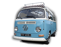 Lola our 1971 VW classic Bay window Type 2 (T2) camper van for hire in Snowdonia North Wales