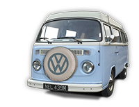 Nell our 1973 VW classic Bay window Type 2 (T2) camper van for hire in Snowdonia North Wales