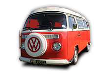 Poppy our 1973 VW classic Bay window Type 2 (T2) camper van for hire in Snowdonia North Wales