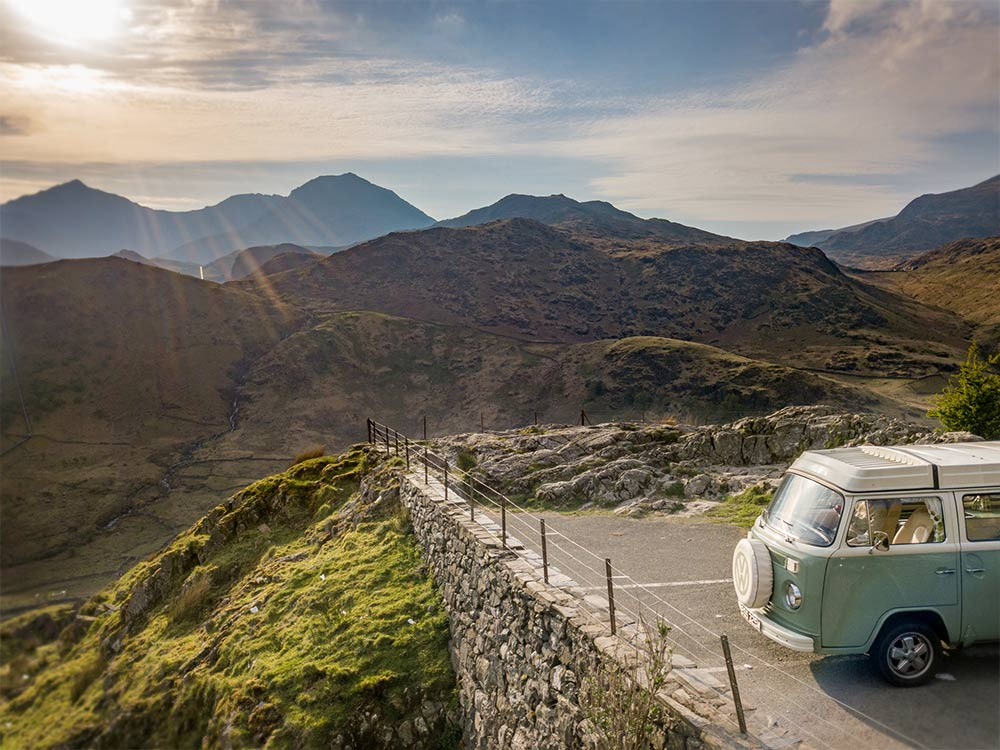 campervan Bessie with Snowdon behind