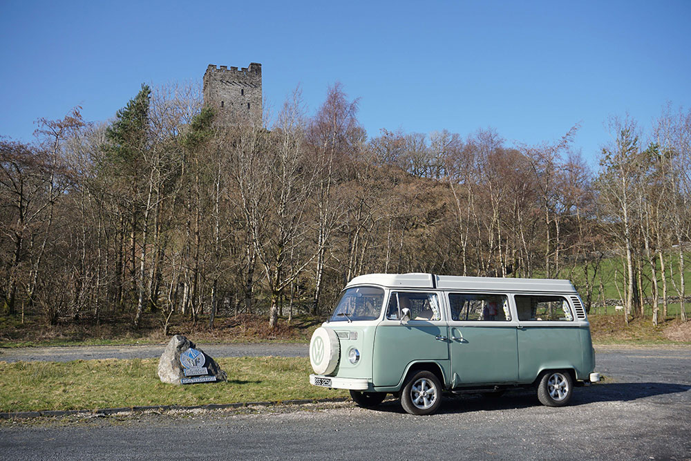 campervan Bessie at Dolwydellan Castle wales